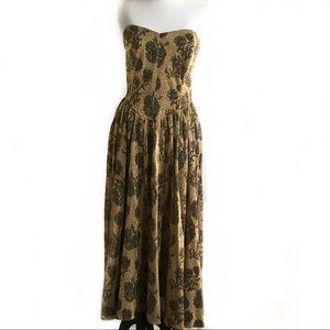 Vintage gold and black strapless formal dress
